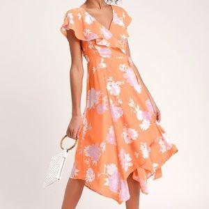 NWT Lulu's Garden of Joy Floral Wrap Dress S